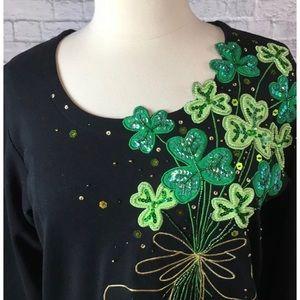 Quacker Factory Sequin Shamrock Shirt